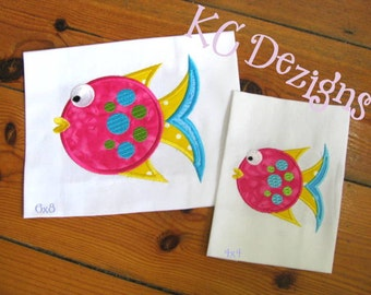 Tropical Fish 02 Machine Applique Embroidery Design - 4x4, 5x7 & 6x8