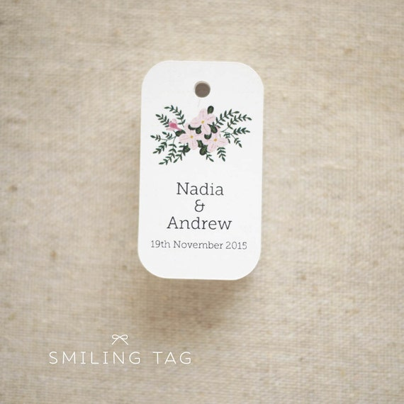 Floral Bouquet Wedding Favor Tags - Personalized Gift Tags - Bridal ...