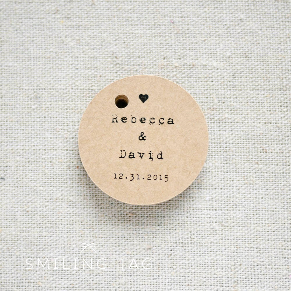 With Love Rustic Wedding Favor Tags Vintage Inspired Kraft