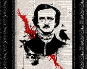 Edgar Allen Poe Raven Vintage Dictionary Print Vintage Book Print Page Art Upcycled Book Art