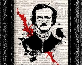 Edgar Allen Poe Raven Vintage Dictionary Print Vintage Book Print Page Art Upcycled Book Art