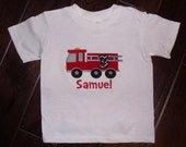 Boutique Boy Fireman Truck Birthday Shirt.  Sizes 12M to 14 Youth Long Sleeves or Short