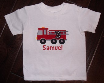 Boy Embroidered Fireman Truck Shirt, Fire Fighter Birthday Shirt, Fire Station Shirt, Fireman Birthday shirt, Boy's Fireman Shirt