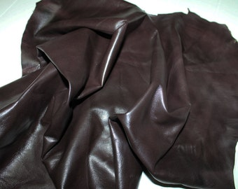 Italian Lambskin leather  hide skin pelt MOHOGANY BROWN DISTRESSED 6sqf