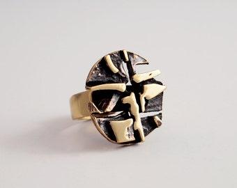 Sale : Vintage Abstract Bronze Ring Finland Design by Jorma Laine - Mosaic 1970s Turun Hopea Nordic Scandinavian Modernist