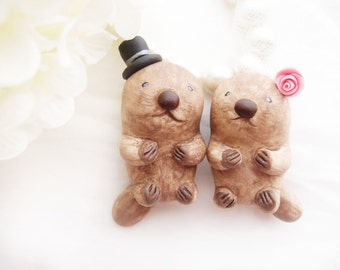 Custom Love Wedding Cake Toppers - Sea Otters