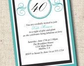 Printable Breakfast at Tiffanys Birthday Invitation