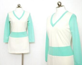 60s mod mini dress // knit wool tunic // vintage micro mini dress // vintage tunic sweater // mint and cream // womens size large