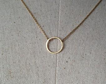 Gold Circle Necklace, 18k Gold, Dainty Necklace, Tiny Round Necklace