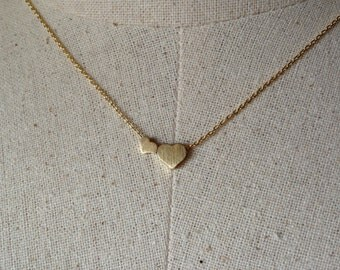 Double Gold Heart Necklace, 18k Gold, Dainty Necklace