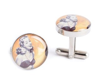 Classic Beauty Cufflinks - retro inspired mens jewelry, mens cuff link accessories, style # AM007