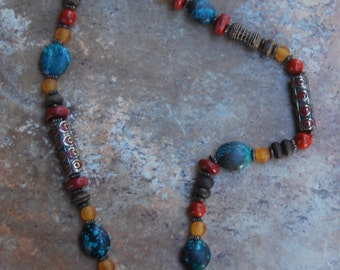 Long Chunky African Ethnic Design with Turquoise, Coral, Recycled Glass, Indonesian Painted Metal Beads and Etched Agate
