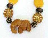 African Kazuri Elephant Beaded Necklace, Caramel Brown, Yellow, Animals, 14K Gold Filled, Fair Trade, Unique, Unusual, One-Of-A-Kind