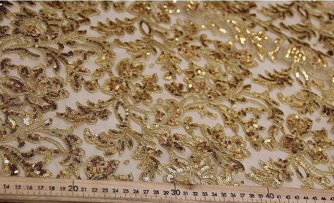 Beaded Gold Lace Fabric Bridal Lace Fabric With Gold Thread