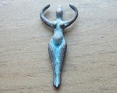 Mykonos Goddess Pendant 50mm x 20mm Green Patina QTY 1