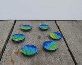 Reclaimed wood magnets  Set of 6 - Hand Painted Blue green wash