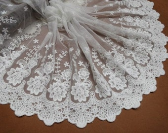 off white lace trim, embroidered tulle lace trimming, scalloped lace trim with flowers