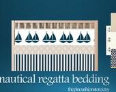 Custom  Baby Bedding Crib Quilt Bumper and Crib skirt Premium Nautical Boys Set