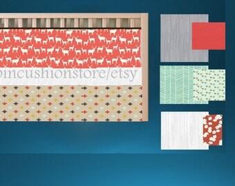 Baby Bedding  /Premium Fabrics Coral MInt/Deer Elk Modern Crib Bedding