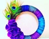 Peacock Yarn Wreath 12 inch