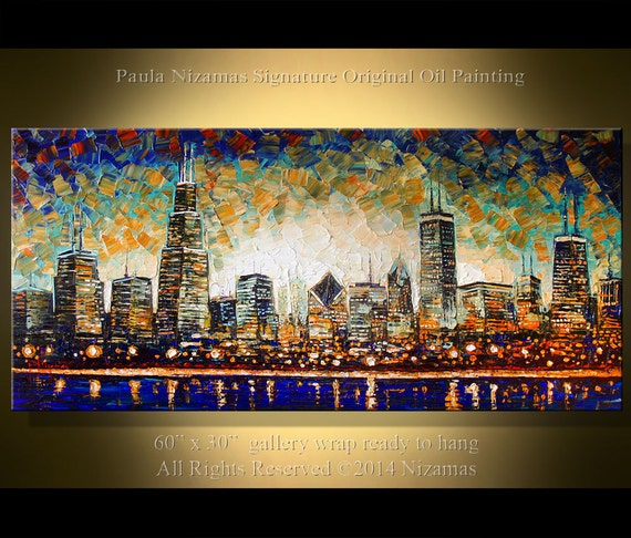 "ORIGINAL Downtown Painting Modern Oil Palette Knife Abstract Painting The City  from  Paula 60"" x 30"" Enormous oo"