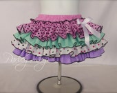 Beautiful Parley Ray Pink, Lavender & Mint All Around Ruffle Skirt 4 Ruffles Baby Girl Ruffled Bloomers/ Diaper Cover Birthday Photo Props