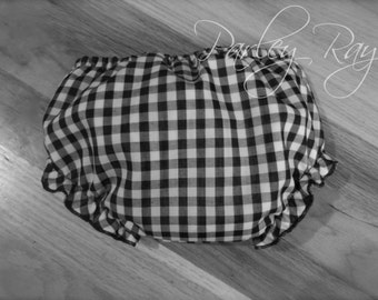 Parley Ray Boy or Girl Black & White Gingham Diaper Cover