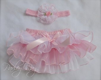 Beautiful Parley Ray Pink & White Satin and Sheer Ruffled Diaper Cover/ Baby Bloomers/ Photo Prop/ Pageants