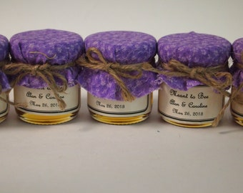Mason jar with purple fabric,custom label, and twine bow! Rustic Barn Favor,HONEY favor gift, Bridal Shower, Edible Gift, Baby Shower, Favor