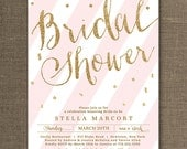 Gold Glitter Bridal Shower Invitation Bridal Shower Invites Pink Striped Confetti Ready Made or Printable Bridal Shower Invites - Stella