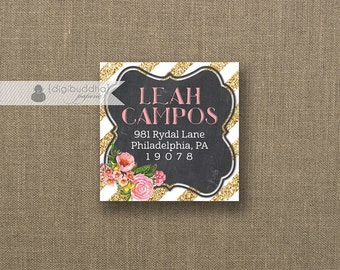 "Gold Stripe Address Labels Small Stickers 1.25"" Square Pink Bloom Bridal Shower Printable Return Address Labels DIY Digital or Printed- Leah"