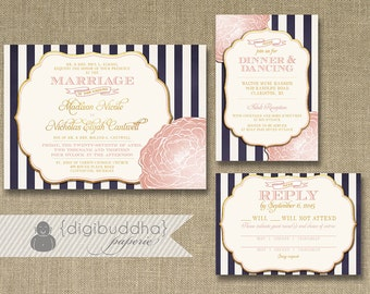 Blush Pink & Gold Wedding Invitation RSVP Info Card 3 Piece Suite Navy Stripes Bloom Shabby Chic Vintage Rustic DIY or Printed - Madison