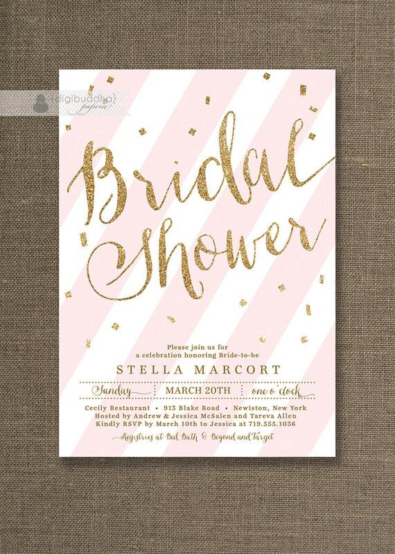Gold Glitter Bridal Shower Invitation Bridal Shower Invites