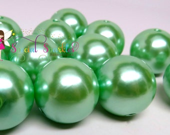 12 MINT Green Pearl Beads 24mm Round Imitation Pearls Girls Bubblegum Necklaces