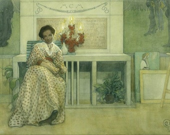 SWEDISH PAINTING PRINT by work of Carl Larsson in 1908---Entitled After the Prom