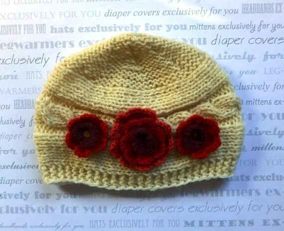 Baby Girl Hat - Baby Girl Knit Hat - Knit Newborn Hat - Baby Winter Hat