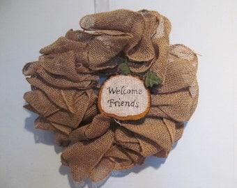 SALE Burlap Wreath with Pumpkin