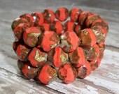 Czech Glass 9mm Bead Salmon Orange Coral Central Cut Irregular FIREGLOW (10)
