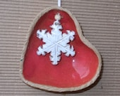 Ceramic red heart with white snowflake  .Christmas decoration.  Holiday Decor. Valentines Day gift.