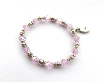 Pink Crystal Stretch Bracelet - Sparkly Helix Cube Crystals and Tibetan Silver Beads - Love Charm elastic braclet