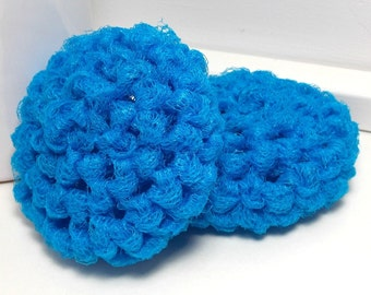 Crochet Dish Scrubby - Nylon Dish Scrubbies - Turquoise Scouring Pads - Crochet Scrubbies - Blue Scrubby - Kitchen Scrubbies - Set of 2