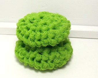 Lime Scrubbies - Crochet Dish Scrubbers - Lime Green Scouring Pads - Set of 2