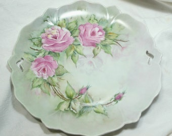 Hand Painted Serving Plate, Platter, Roses