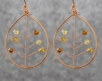 Copper wiring large danling leaf earrings Free US Shipping handmade Anni designs