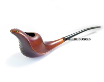 """New Exclusive Style """"COBRA"""" Long Tobacco Smoking Pipe. Handcrafted Wooden pipe, 7.9'' Best Price in Fashion Pipes"""