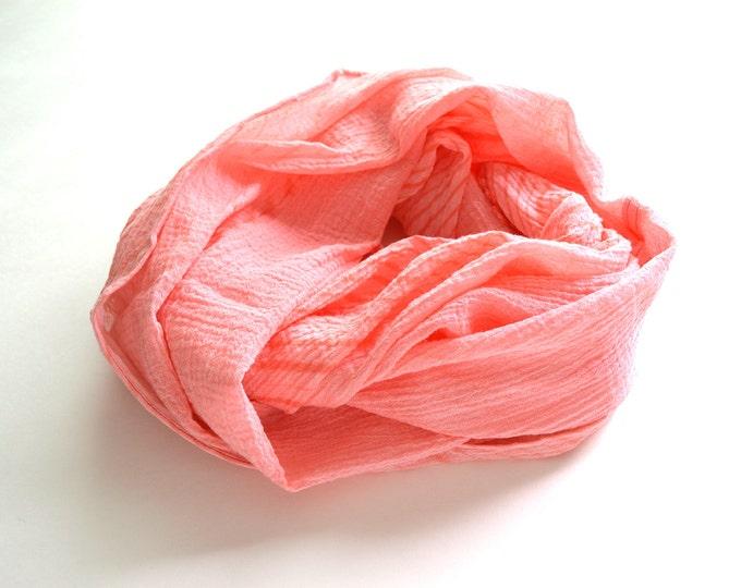 Coral Infinity Scarf - shibori cotton summer scarf - Coral