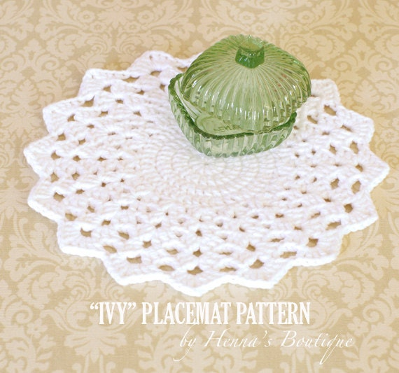 Crochet Patterns Placemats : Crochet Placemat Pattern Round IVY Placemats PDF