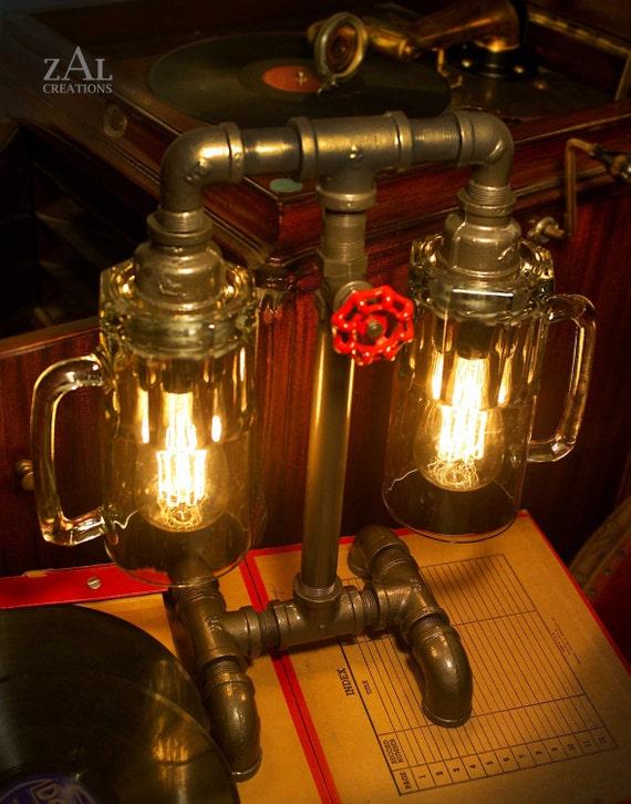 lampe de table chopes bi re tuyau de plomberie et. Black Bedroom Furniture Sets. Home Design Ideas