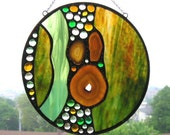 Round Stained Glass Panel - Natural  Agate - Gold - Green - Abstract - OOAK - Handcrafted - Made in USA