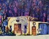 Watercolor ORIGINAL, Southwest Shadows, New Mexico, Santa Fe, winery watercolour